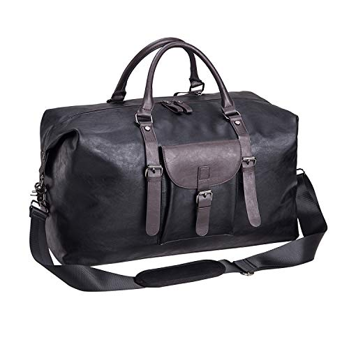 Crinkle Leather Tote - Oversized Leather Travel Duffel Bag Black,Weekender Overnight Bag Waterproof Leather Large Carry On Bag Travel Tote Duffel Bag for Men or Women-Black
