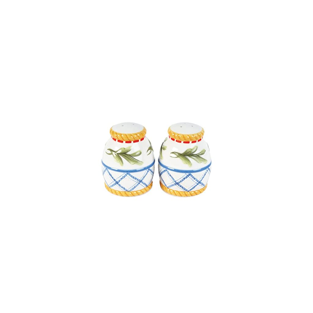 Clam Bake Collection, Salt & Pepper Shaker Set, White/Blue/Yellow