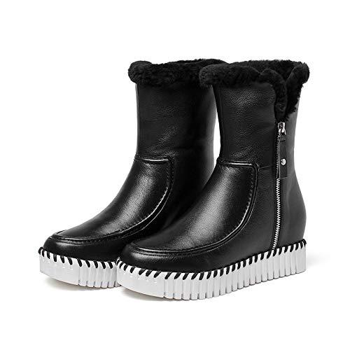 XIE XIE Aumento Stivali Impermeabile Caldo Stivali Inverno 35 Stivali Coreano Femminile Piatti di Lato Zip Cotone Pesante Fondo Neve da 120W Antiscivolo rrFCOTqwd