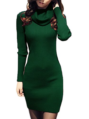 V28 Women Cowl Neck Knit Stretchable Elasticity Long Sleeve Slim Fit Sweater Dress XS/S US 2-8 Dark Green