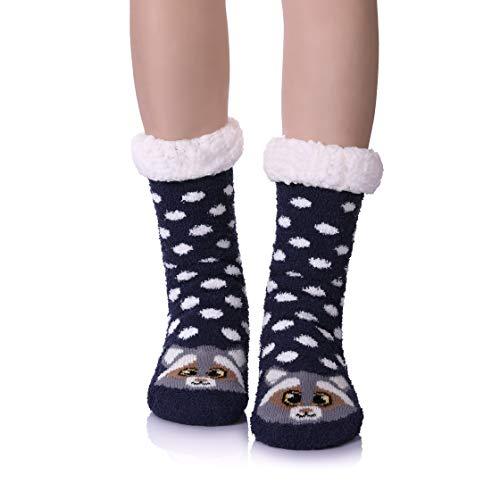 Womens Super Soft Cute Cartoon Animal fuzzy Cozy Non-Slip Winter Slipper Socks (Raccoon)