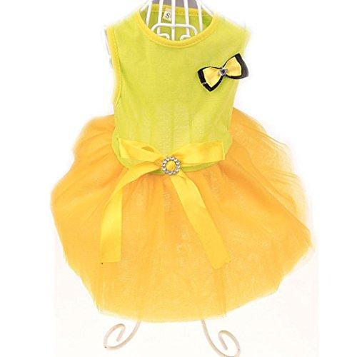 (ღ Ninasill ღ Lovely Puppy Dog Princess Dress Dog Camisole Gauze Skirt (S, Yellow))