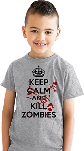 Price comparison product image Crazy Dog T-Shirts Youth Keep Calm and Kill Zombies Shirt - Funny Undead T-Shirt for Kids (Grey) XL