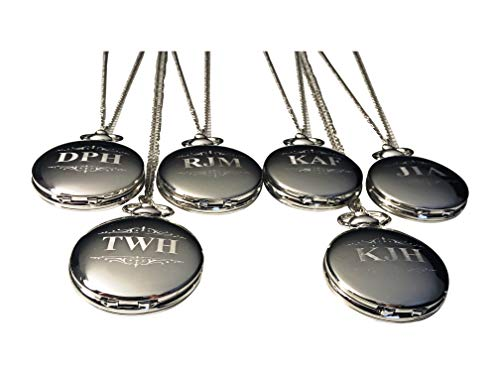 6 Personalized Pocket Watches, Set of 6 Groomsmen Wedding Unique Gifts, Chain, Box and Engraving Included, Comes in 4 Colors