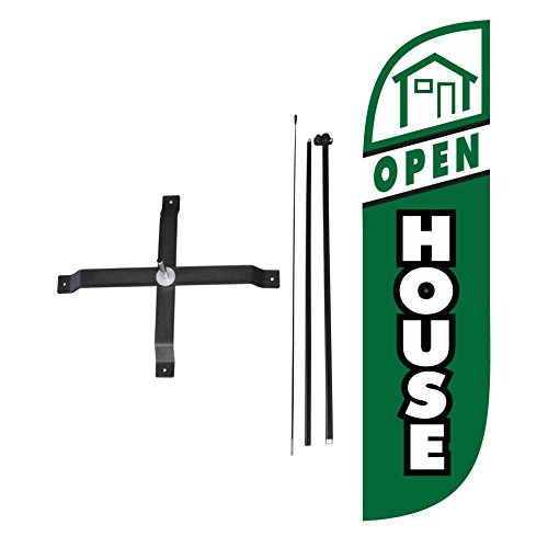 LookOurWay Open House Feather Flag Complete Set with Poles X-Stand, 5-Feet