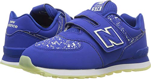 New Balance Hook - New Balance Boys' 574v1 Hook and Loop Sneaker, Royal, 2 M US Little Kid