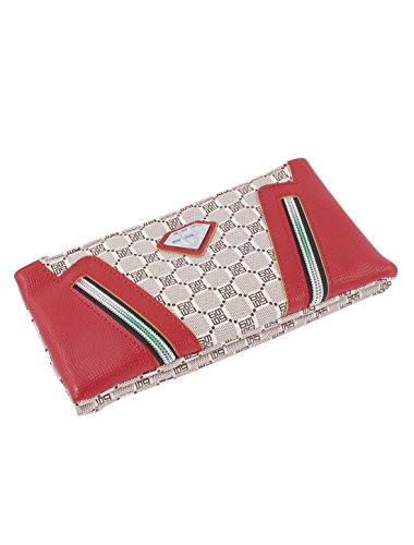 Dual-Zips Dekor Plaids Muster 3 Compartments Frauen-Schulter-Beutel-Rot