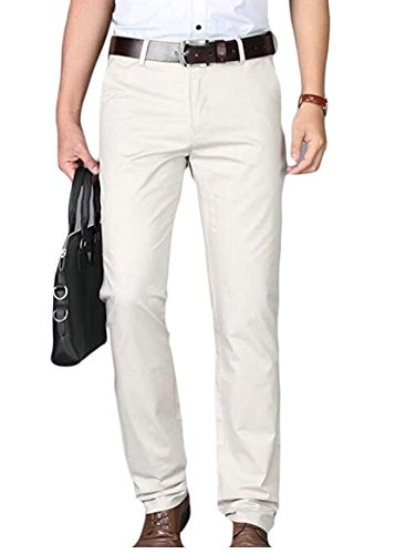 Botong Men's Slim Fit Tapered Stretchy Casual Pants Wrinkle-Resistant Flat Front Suit Pants Ivory 34Wx34L by Botong