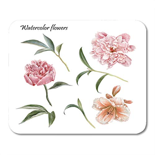 """Semtomn Gaming Mouse Pad Green Flowers of Watercolor Peonies Lily and Leaves Orange 9.5""""x 7.9"""" Decor Office Nonslip Rubber Backing Mousepad Mouse Mat"""
