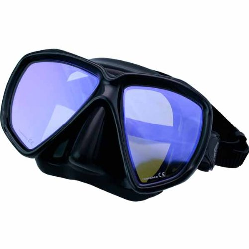New ScubaMax Spider Eye Scuba Diving & Snorkeling Mask with Yellow Lens for Lake Diving (Black Frame on Black Silicone Skirt) by ScubaMax