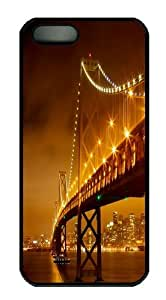 iPhone 5S Case and Cover -Bridge at night PC Hard Plastic Case for iPhone 5/5S Black