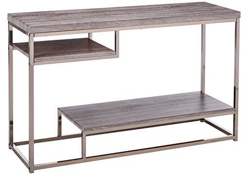 Coaster Home Furnishings 2-Shelf Sofa Table Weathered Grey and Black Nickel For Sale