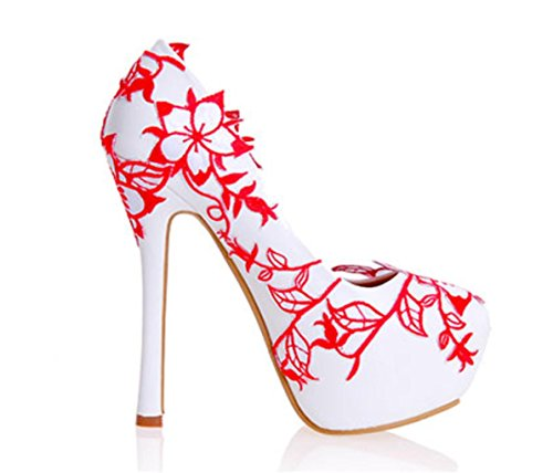 MNII Women's Court Shoes Pumps Stiletto High Heel Party Club Bridal Wedding Shoes- Good Quality Red 8dyFnu