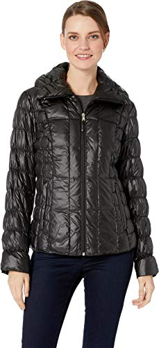Kenneth Cole New York Women's Packable Down w/Side Ruching Black Small ()