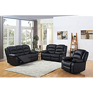 DProT Recliner Sofa Leather bonded Reclining Lazyboy Sofa Suite Sofas Chair 3 2 or 1 (1 Seater + 2 Seater + 3 Seater…