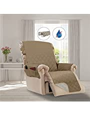 COMFII HOME 100% Water Repellent Reversible Quilted Recliner - Adjustable Buckle strap, Anti-slip - 2 Pockets for Remote, Snack, Water - Water repellent, Claw-proof, Stain-Free, Dust-Free - Sofa and Couch slipcover, protector, furniture cover (Recliner, KAKHI)