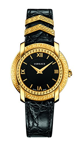 Versace Women's 'DV-25' Swiss Quartz Stainless Steel and Leather Casual Watch, Color:Black (Model: VAM030016)