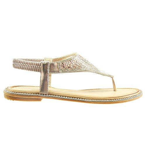 Angkorly - Chaussure Mode Sandale slip-on ouverte femme bijoux strass diamant Talon plat 1 CM - Champagne