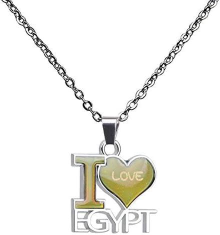 CliPons Fashion Emotion Necklace Color Change Mood Heart Shaped Alphabet I Love Egypt Pendant for Women