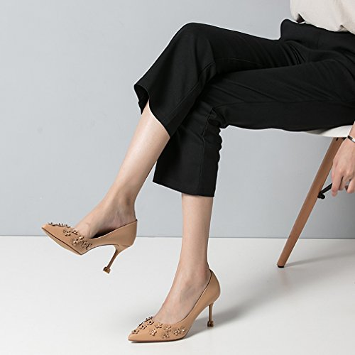 Fashion Shoes Mouth Wedding Shallow Feet Shoes High Shoes Feminine Brown Sandals Pointed Heel Elegant Bare Sexy Rivets Brown Toe wSqBSRYFxT