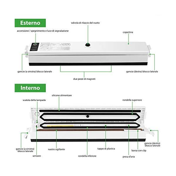 Macchina Sottovuoto per Alimenti, iLmyh Sigillatore Automatico Sottovuoto per Alimenti Freschi Sia Secchi Che Umidi… 3