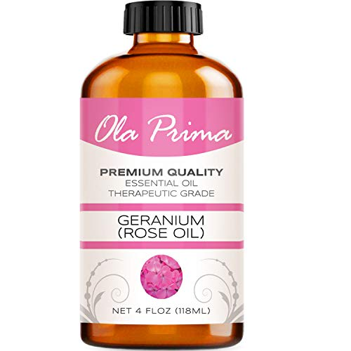 4oz - Premium Quality Rose Geranium Essential Oil (4 Ounce Bottle with Dropper) Therapeutic Grade Rose Geranium Oil