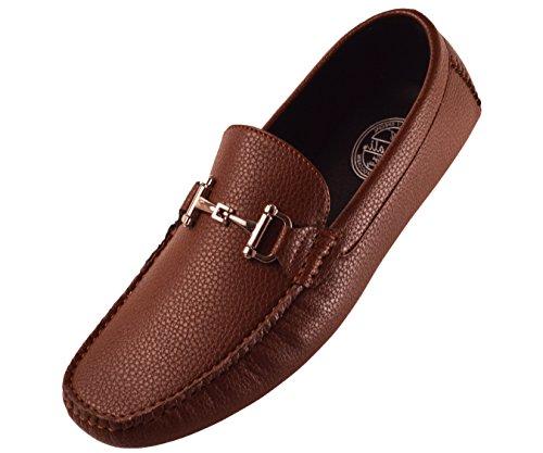 Amali Men's Classic Driving Shoe in Pebble Grain Faux Leather with Sleek Metal Bit, Style Remini (Grain Pebble Brown)