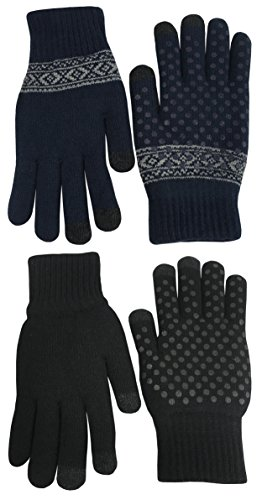 N'Ice Caps Kids Warm Plush Lined Knit Touchscreen Gloves - 2 Pair Pack (6-8 Years, Navy (6 Pair Pack Navy Accessories)