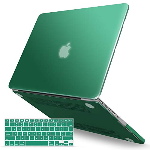 IBENZER MacBook Pro 13 Inch Case 2012-2015, Soft Touch Hard Case Shell Cover with Keyboard Cover for Apple MacBook Pro 13 with Retina Display A1425 1502, Peacock Green, MMP13R-LMGN+1