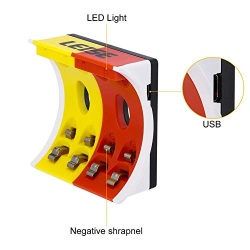 Amarillo y Rojo RoadRoma 8 Pilas AA Recargables Cargador Inteligente de 4 Ranuras con indicador LED