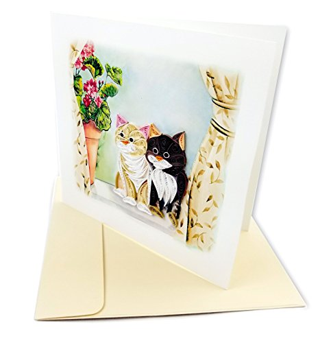 "Two Cats Quilling Greeting Card, 6x6"" with Envelope. Any Occasion. Blank Inside. Hand-made. Suitable for Framing."