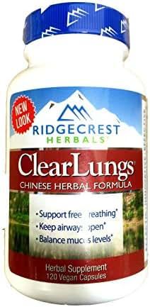 RidgeCrest Clearlungs (Red), Herbal Breathing Support, Original Formula , 120 Vegetarian Capsules