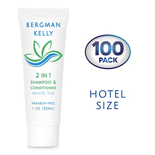 BERGMAN KELLY Travel Size Shampoo & Conditioner 2 in 1 (1 Fl Oz, 100 Pack), Delight Your Guests with Revitalizing and Refreshing Shampoo Amenities, Quality Small Size Hotel Toiletries in Bulk
