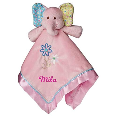 Personalized Ella Bell Elephant Baby Blanket - 17 Inch - Pink Embroidery, Mila