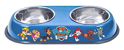 Penn Plax Officially Licensed Paw Patrol Food and Water Double Bowl for Cats and Dogs, Featuring Your Favorite Characters from Nickelodeon's Popular Kid's Show!