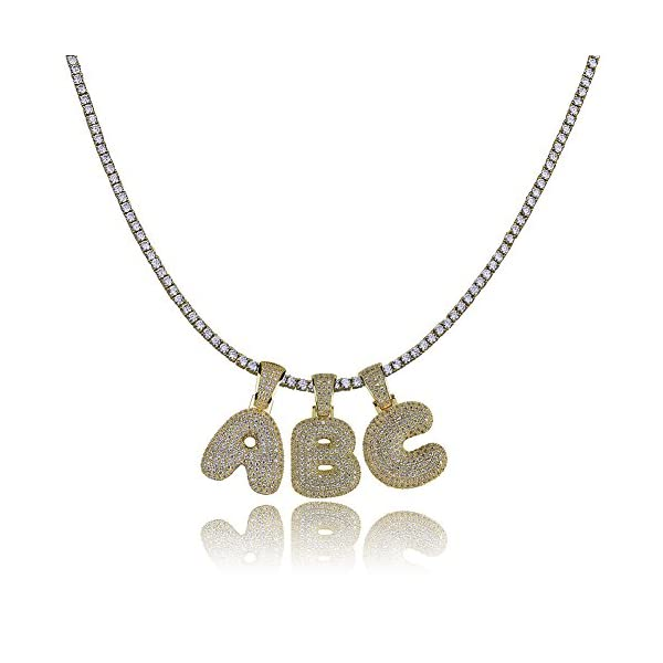 HECHUANG Micropave Simulated Diamond Iced Out Bling Custom Bubble Letters Pendant