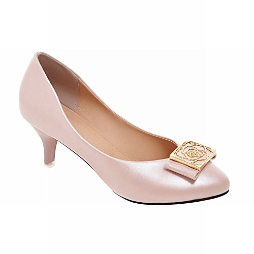 Carolbar women's elegance fashion bridal wedding charm stiletto mid heel dress shoes (8.5, Light (Light Pink Shoe Charms)