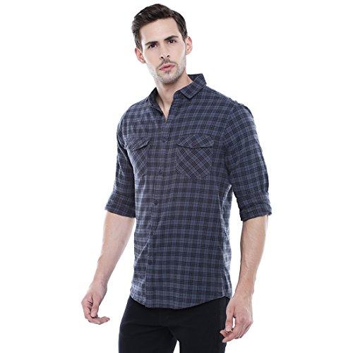 Dennis Lingo Men's Checkered Grey Slim Fit Casual Shirt