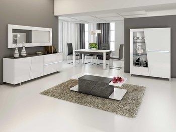 salle manger complte design blanc laqu lizea avec clairage led intgr buffet argentier - Cuisine Avec Salle A Manger Integree