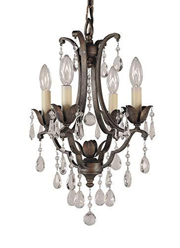 Four Light Mini Chandelier Bronze (Feiss F1881/4BRB Maison De Ville Crystal Small Candle Chandelier Lighting, Bronze, 4-Light (13