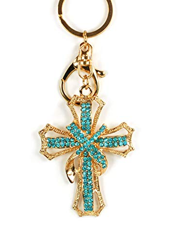 Rhinestone Victorian Cross Crown Keychain Crystal Handbag Key Charm Ring Pendant Chain (Turquoise Blue)
