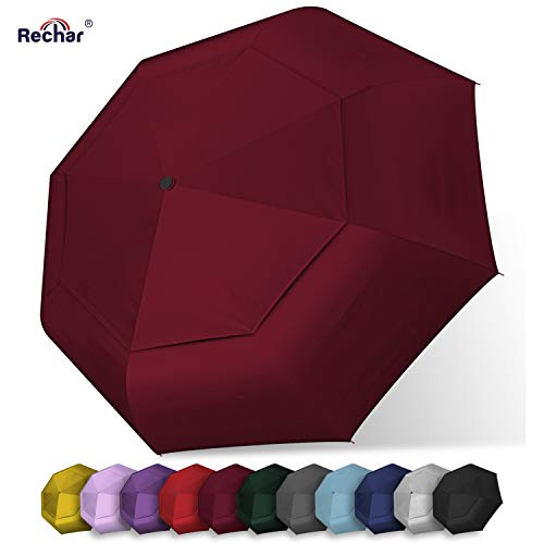 Rechar Large Windproof Totes Umbrella 一Compact Travel Rain Umbrella for Women & Men 52 inch Oversize Double Canopy Umbrella 1-Year Quality Warranty No Refund