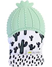 Itzy Ritzy Silicone Teething Mitt & Soothing Infant Teething Mitten with Adjustable Strap, Crinkle Sound and Textured Silicone to Soothe Sore and Swollen Gums, Cactus