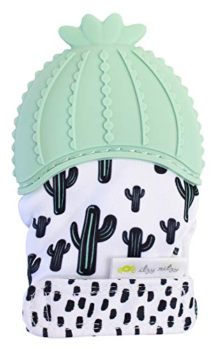 Itzy Ritzy Silicone Teething Mitt - Soothing Infant Teething Mitten with Adjustable Strap, Crinkle Sound and Textured Silicone to Soothe Sore and Swollen Gums, Cactus