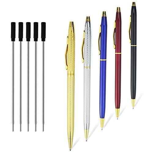 Ballpoint Pens, Retractable Pens Black Ink Stainless Steel Metal Ballpoint Pen In Bulk Ball Point Medium 1.0mm School Business Office Grip Pen For Men Women Girls Student Gift, 5 Pack