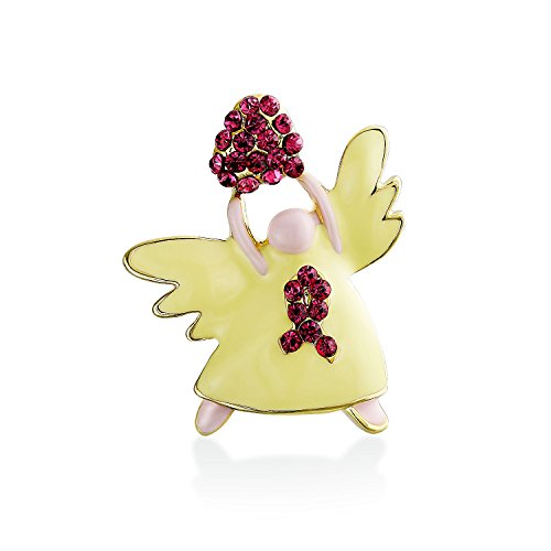 Bling Jewelry Guardian Angel Brooch Pin Breast Cancer Ribbon Heart Accent Red Crystal Yellow Glass Gold Plated Brass -