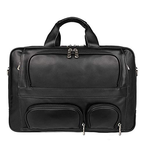 Satchel Uzanesx Bag color Bolso Black Ordenador Maletín Vendimia Portátil Cuero La Para De Genuino Black Bolsa Bookbag Messenger Hombro Hombres 88v4TB