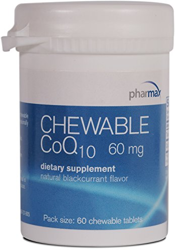 Pharmax - Chewable CoQ10 - Antioxidant, Energy and Cardiovascular Support* - Natural Blackcurrant Flavor - 60 Chewable Tablets