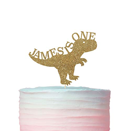 (Personalised first birthday cake topper. Dinosaur theme. Name and age cake topper. First birthday. 1st)