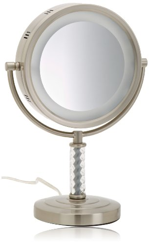 Jerdon HL856MNC 8-Inch Halo Lighted Vanity Mirror with 6x Magnification, Nickel -